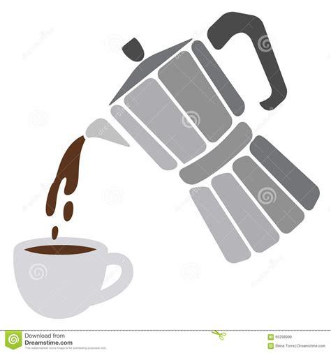 Moka Pot And Cup Of Coffee Stock Vector   Image: 65298999