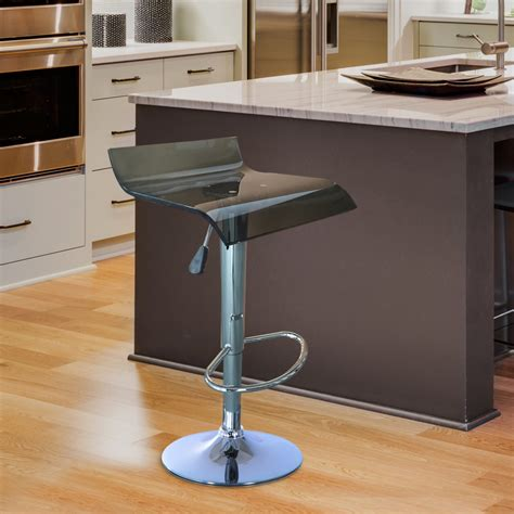 Acrylic Adjustable Bar Stools by Homcom Acrylic Bar Stool Adjustable Swivel Seat Gas Lift
