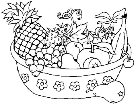 small fruit basket coloring pages for kids
