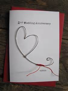 2nd wedding anniversary keepsake card cotton wire 2