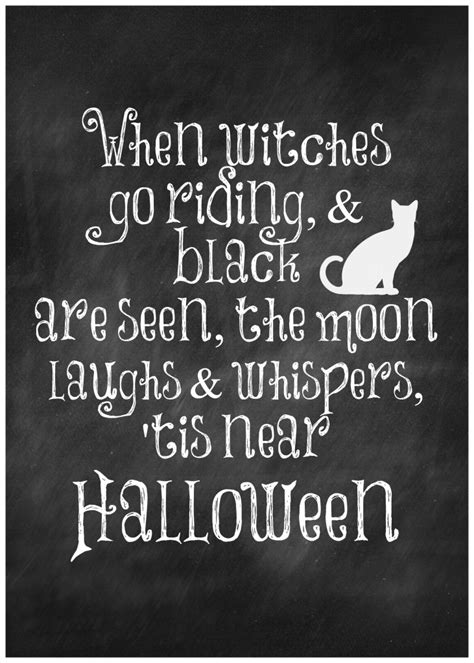 free printable halloween quotes when witches go riding and black cats are seen free