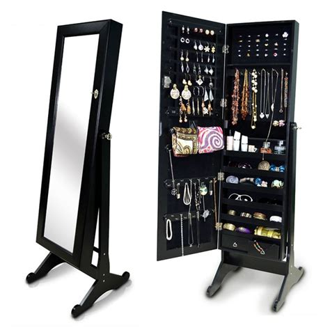 Black Jewelry Armoire Mirror by The Organizedlife Mirrored Jewelry Cabinet Jewelry Reviews World