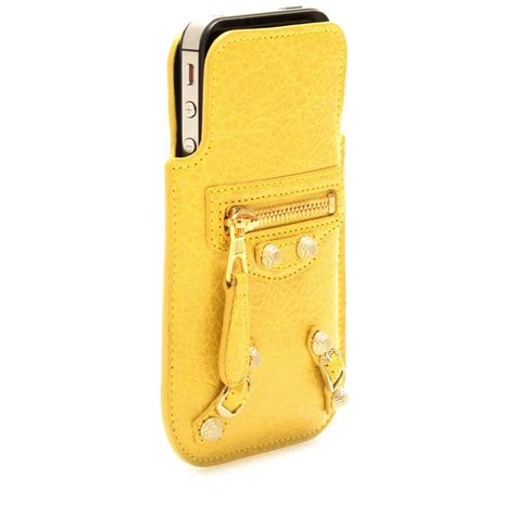 lyst balenciaga giant leather iphone case  yellow
