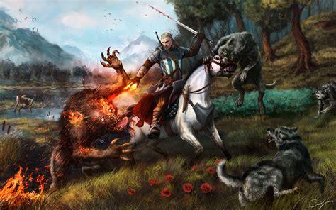 wild hunt witcher 3 werewolf witcher horse werewolf wolves art by maxifen by maxifen