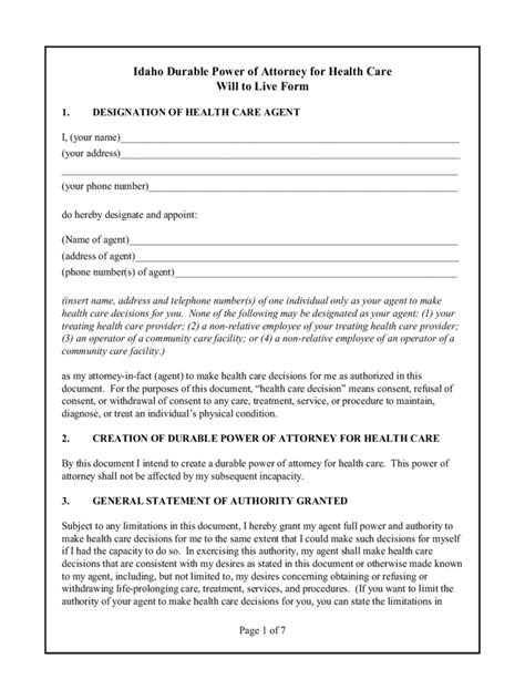 Idaho Power Of Attorney Form Free Templates In Pdf Word Excel To Print Living Will Template Idaho