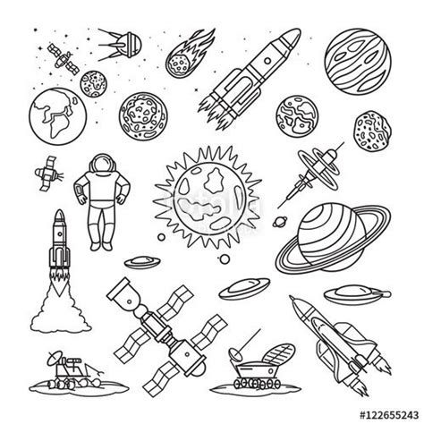 doodles in outer space 1539195775 vecteur space doodle linear icons vector planets rockets earth and astronaut cartoon hand