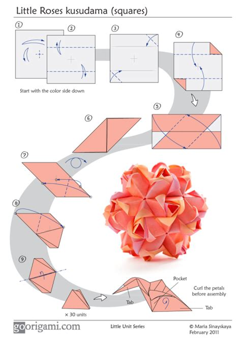 Origami Flower Diagrams - roses kusudama by sinayskaya diagram go