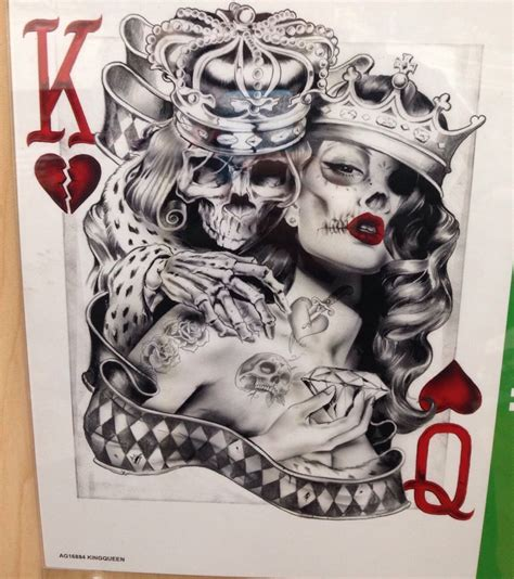king and queen card tattoos skeleton king with of hearts card shirt choose size