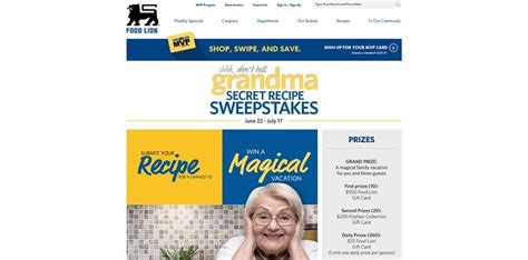 Sweepstakes Unlimited - food lion grandma s secret recipe sweepstakes
