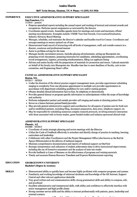 sle resume for administrative support specialist administrative support specialist resume