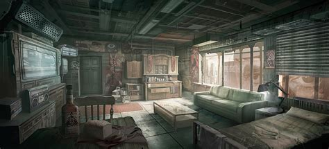 Apartment Livingroom artstation 1984 george orwell winston s room yoojin