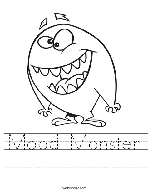 Mood Monster Worksheet   Twisty Noodle