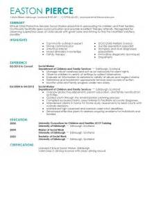 resume social service worker
