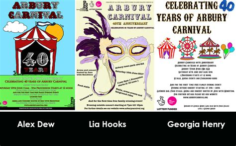 graphic design competition uk graphic design students produce arbury festival posters in