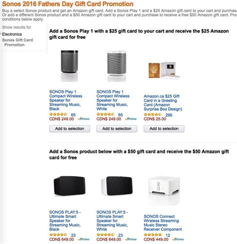 Where To Get Amazon Gift Cards Canada - sonos play amazon gift card