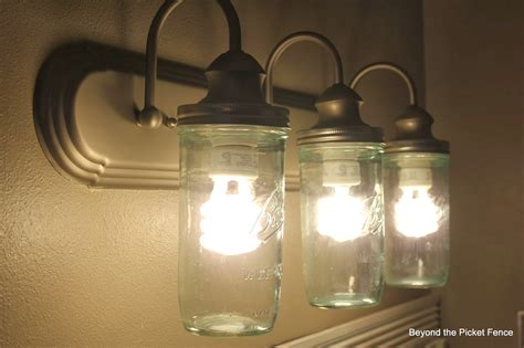 mason jar bathroom light fixture beyond the picket fence how to makeover a bathroom for