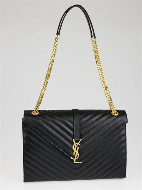 yves laurent black quilted grained leather large