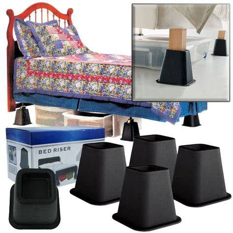 dorm room bed risers set of 8 black bed risers 6 inches as seen on tv great for the dorm room ebay