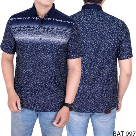 Kemeja Batik Excellent Katun Biru kemeja batik keren pria katun biru dongker bat 997