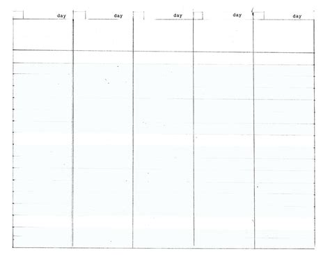 work day planner template 5 day work week diy planner template