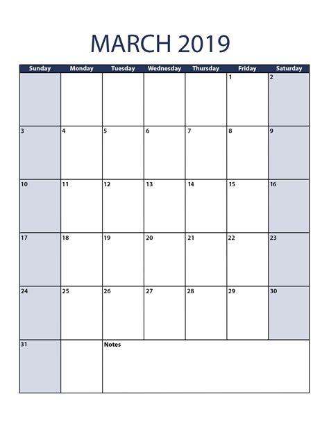march calendar template march 2019 calendar template