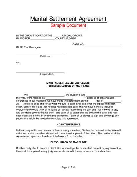 separation template 8 marriage separation agreement templatereport template
