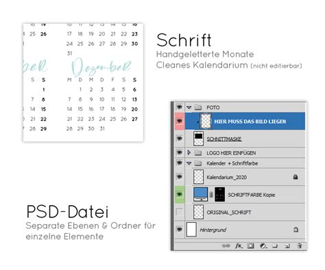 kalender  fotokalender bastelkalender printable zum ausdrucken tempate design lisas