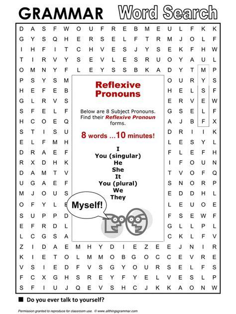 printable word search english english grammar word search reflexive pronouns http www