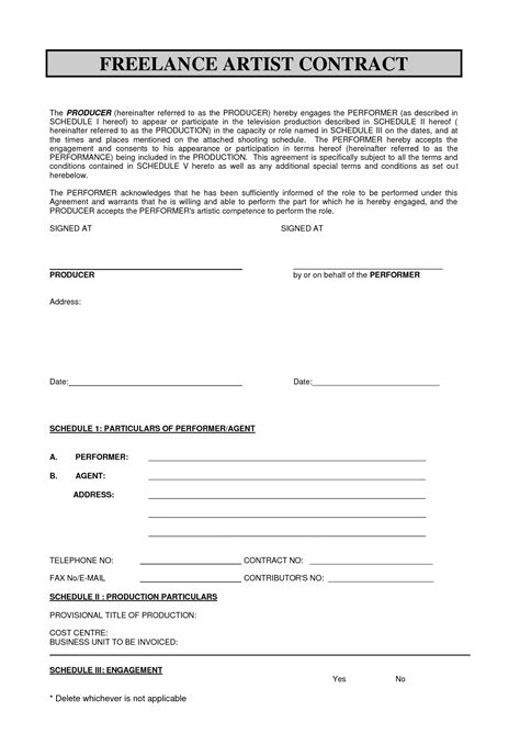 Sabc Contract 2010 Pdf Freelance Artist Contract By Freelance Agreement Template Free