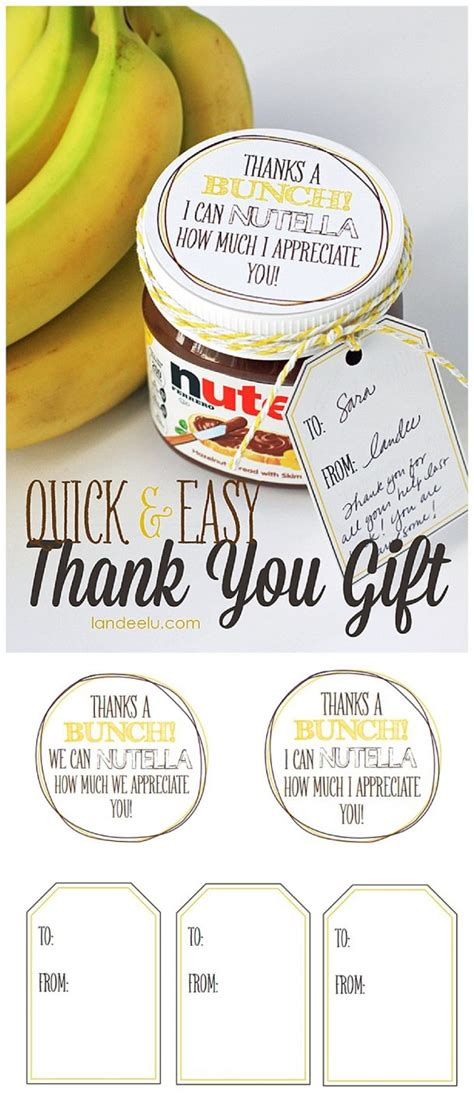 easy thank you gift idea bananas and nutella