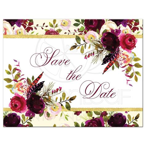 Open House Designs beautiful burgundy watercolor floral save the date card