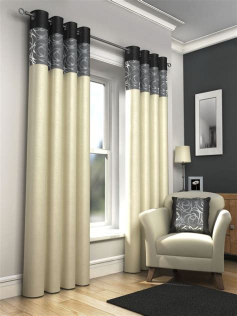 black and cream drapes fully lined eyelet curtains ring top ready made black