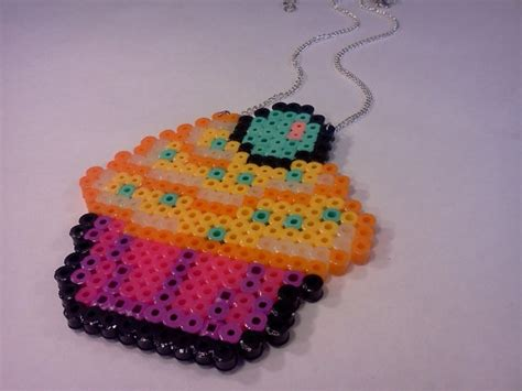 perler bead cupcake pin perler bead cupcake necklace butterscotch by