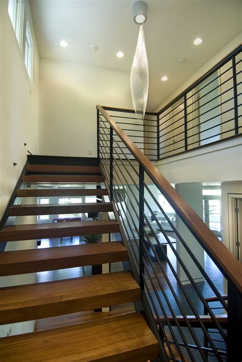 modern stair railings staircase modern with ceiling