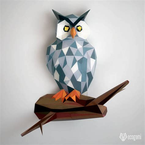 Owl Papercraft - owl papercraft diy wall mount 3d paper by ecogami on