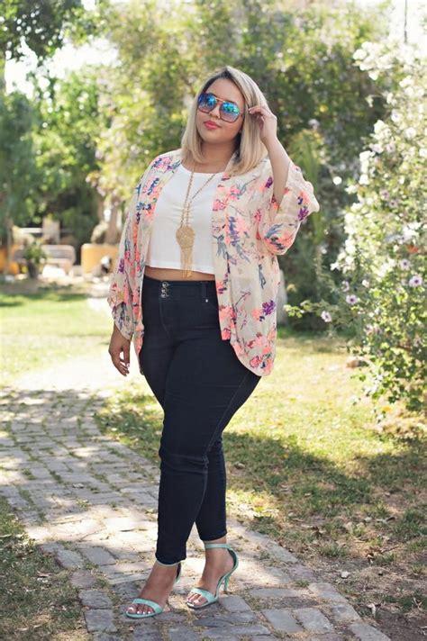 pinterest plus size womens summer outfit ideas floral kimono gabi fresh style curvy plus size