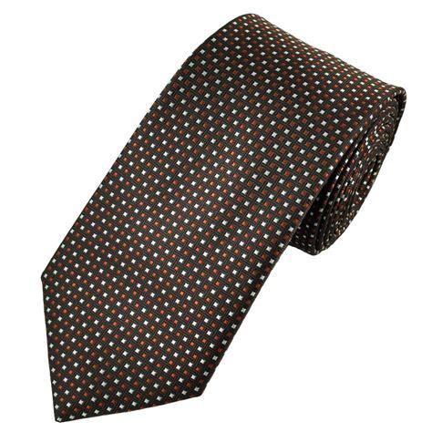 orange patterned ties brown orange silver square patterned men s tie from