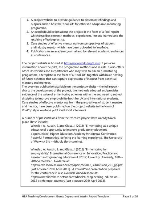 grant interim report template hea e mentoring project report