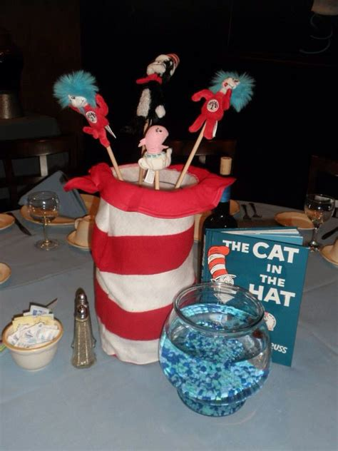 cat in the hat centerpiece storybook theme baby shower