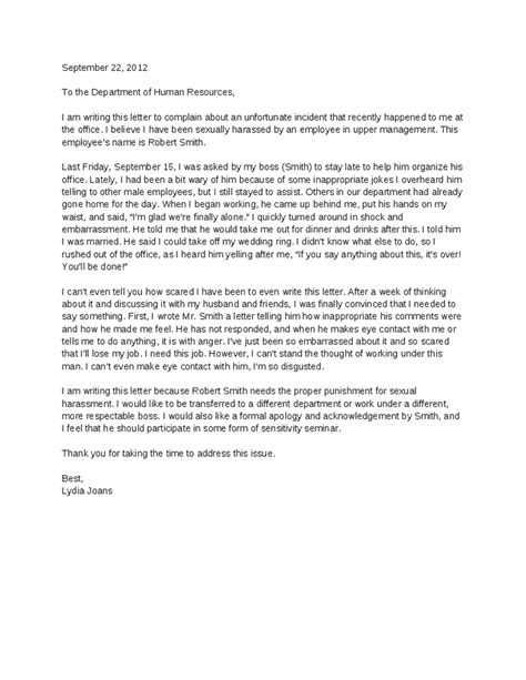 Complaint Letter Bullying In The Workplace Sle Sexual Harassment Letter Of Complaint Hashdoc