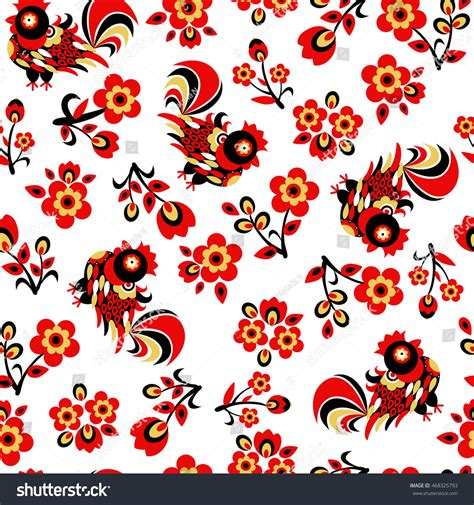 new year flower pattern vector seamless pattern rooster flowers vector illustration stock