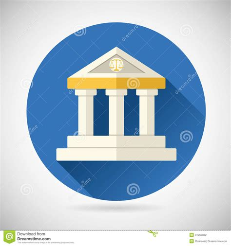 flat design icon house law court museum bank house symbol justice stock vector