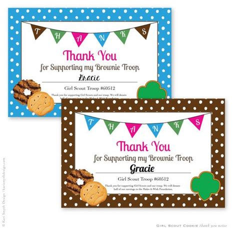 printable thank you cards girl scout cookies personalized printable girl scout cookie thank you notecards