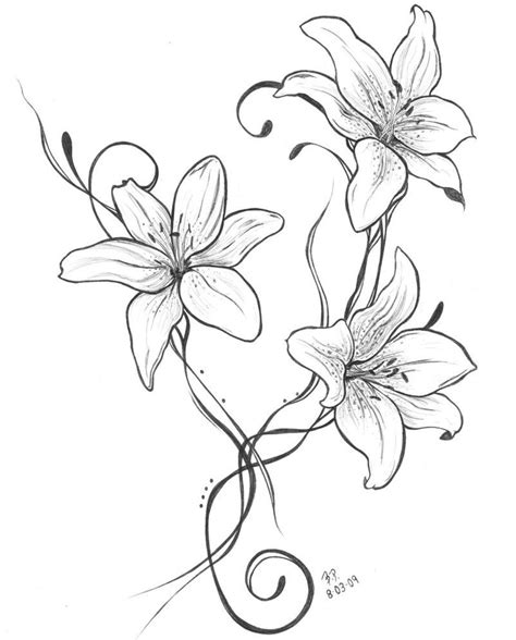 simple lily tattoo designs lilies another idea kwiatowe wzory