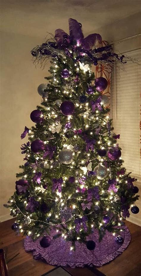 purple and silver christmas tree decorating ideas design