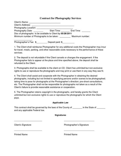 Photo Contract Template Free Printable Wedding Photography Contract Template Form Generic