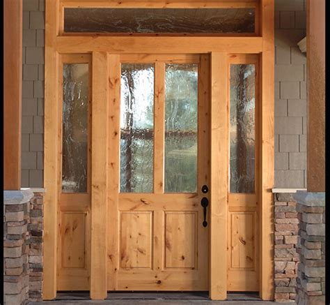 Knotty Alder Exterior Doors Knotty Alder 2 Lite Craftsman Entry Door With Sidelites Ex 1347 Ksr Door And Mill Comany