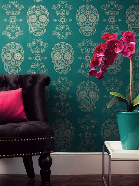 day of the dead bedroom ideas mexican day of the dead sugar skull wallpaper emerald