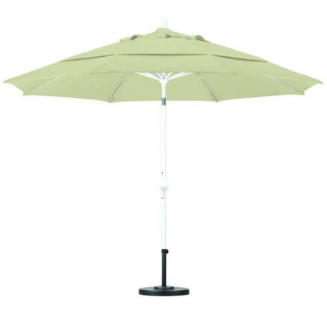 11 Ft Patio Umbrella California Umbrella 11 Ft Fiberglass Collar Tilt Vented Patio Umbrella In Pacifica