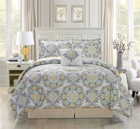 5 piece medallion floral yellow green gray comforter set